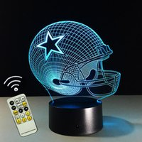 Wholesale Helmet Ce - 2017 New Design 3D Dallas Cowboys Rugby Helmet Night Light LED Colorful Remote Touch LED Bedside Lamp Gift