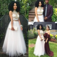 Wholesale Tops Special Occasions Girls - 2k17 Two Piece White Tulle Prom Party Dresses For Black Girl Crop Top Lace Beading Formal Evening Special Occasion Gowns Custom Made Cheap