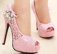 Wholesale Hot High Heels For Prom - ..Hot Sales Ladies Shoes Peep Toe Platform Pumps Wedding Shoes for Women High Heels Prom Shoes Size 36-40 TZ0464