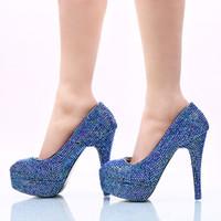 rhinestone azul vestidos de novia al por mayor-2017 Tamaño grande 45 Zapatos de vestir de mujer Royal Blue AB Rhinestone Wedding Party Shoes Hecho a mano Cumpleaños Prom Prom Tacones Bombas de novia