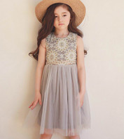 Wholesale New Flower Girl Dresses Wholesale - Phelfish 2017 Summer New Girl Dress Lace Embroidery Flower Fluffy Tulle Princess Sundress Children Clothing 3-8Y 16246
