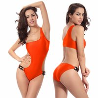 Wholesale Sexy Swimsuit Design - Beach clothing Women's Swimwear Sexy Women's Clothing Fashion Six Unique Waist Ring Adjustable Design Wetsuit One Shoulder Swimsuit