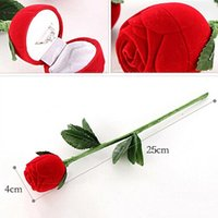 Wholesale Decorative Birthday Gift Boxes - Romantic Red Rose Flower Velvet Wedding Ring holder Earrings Storage Display Case Pendants Jewelry Gift Box Valentines Day birthday gifts
