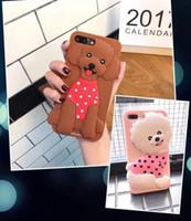 Wholesale Korea Cartoon Covers - Korea Cute 3D Cartoon dog Soft silicon Animal phone cover case For iPhone 6s 7 8 plus 7plus goophone 8 plus