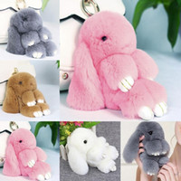 2017 Cute Cute Fluffy Bunny Keychain Mulheres Trinket Rabbit Chaveiro Hare Pompom Dolls Toy Car Key Titular Animal Steering-wheel Pendant