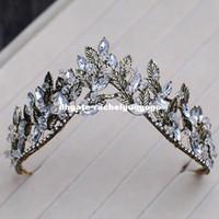 tiaras antigas venda por atacado-Liga preta folha coroa estilo europeu antigo palácio rainha tiara noiva acessórios para o cabelo de casamento coroa coroa