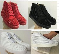Wholesale Ivory Dress Lace Bottom - 2017 New wholesale Men Women Designer Casual Shoes Luxury Red Bottom Fashion Sneakers Black Suede Spikes Flat High Top Part Time Dress Leis