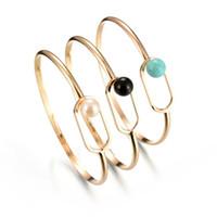 Wholesale geometric bracelets - 5 Colors Fashion Marble Stone Geometric Open Cuff Round Pearl Punk Bracelet Bangle Women Party Jewelry