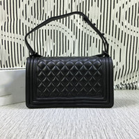Wholesale Motorcycle Christmas Gifts - Christmas Gift,Original Quality 67086 Black Women Shoulder Bags Hard Leather Plaid Mini Flap Shoulder Bags