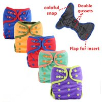 Wholesale Minky Bamboo - 1PC Reusable Waterproof Cloth Diaper Nappy Baby Minky Printed PUL Outside Bamboo Charcoal Inner Double Gussets Wholesale Selling