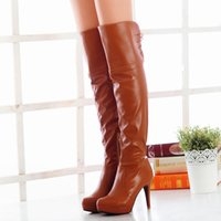 Wholesale Cheap Ladies High Heel Shoes - Free Shipping 2015 Fashion Womens Thigh Over Knee High Winter Boots Platform Big sizes 35-47 lace up Half Zipper Ladies Shoes 0813 Cheap
