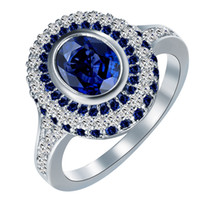 Wholesale wedding jewelry sets royal blue - silver plated engagement rings New vintage Royal blue white zircon Jewelry Wedding gift for women hot sale luxury promise rings