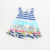 Wholesale Christmas Sail - 2017 New Summer Sailing stripe Printed Girls Dresses Child Dress Cute Casual cotton Beach Dresses baby kids Child Clothes Wear A167