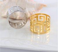 düğün bezi peçeteleri toptan satış-Moda Kesme Metal Paslanmaz Çelik Peçete Halkaları Otel Düğün Malzemeleri Dekorasyon Aksesuarları Peçete Bez Halkası