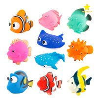 Wholesale Bath Tub Baby Rubber - 10pcs Bath Toys Kawaii Cute Baby Shower Toys Speelgoed Kids Float Water Tub Rubber Water Squirting for Kids Baby