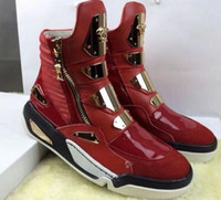 Wholesale Sneaker Metal - High quality Men's fashion high top sneakers luxury brand metal paillet Zipper decorate hardware casual shoes Zapatos Hombre Plus size 39-46