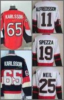 Wholesale Ottawa Hockey - Ottawa Senators 2017 65 Erik Karlsson 25 Chris Neil 11 Daniel Alfredsson 19 Jason Spezza Black White Red Jersey