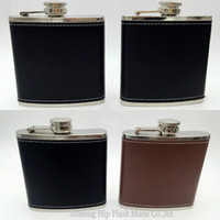 Wholesale Leather Pocket Flask - 6OZ Fake leather wrapped hip flask ,Shipping Free ,Laser weldding