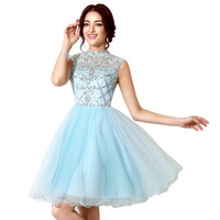 Wholesale Teen Girls Occasion Dresses - 2016 New Elegant high neck Homecoming Dresses beadings Teens Sweet 15 16 Graduation Prom Girls Cheap Occasion Event Gowns Hot Formal Wear