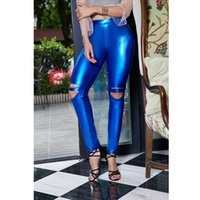 Wholesale Colthes Woman - Women Leggings Leather Pants Polyester Beauty Garden 2017 Colthes Spring Fashion Casual Solid Hole Female Skinny Long Pants