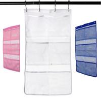 ingrosso tende di rete-Organizer della doccia del bagno del caddy d'attaccatura di secchezza rapida con 6-Hang Hang On Shower Rod di tenda / fodera di linea Accessori di bagno di maglia