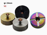Wholesale Ecig Adaptor - 24mm V2 Heat Sink Adaptor 510 Finned Heatsink Adapter Insulator 510 Thread Bottom Attached Heat Dissipation RDA RBA Ecig Vape Mod Atomizers