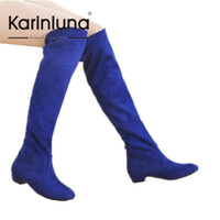 Wholesale Plus Size Over Knee Boots - Wholesale-Plus Size 34-43 New Arrival Over The Knee High Boots Women Shoes Solid Casual Concise Fashion Shoes Round Toe Boots