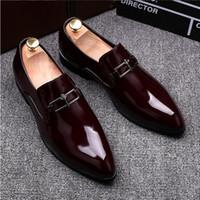 i̇talyan patent elbise ayakkabıları toptan satış-Yeni Stil İtalyan Lüks Patent Deri erkek El Yapımı Loafer'lar Moda Ziyafet Balo Erkekler Elbise Düğün Ayakkabı Rahat GX84