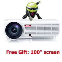 Discount android led lcd - Wholesale- Brazil smart Android 4.4 lcd tv led projector full hd accessories 1920x1080 3d home theater projetor video proyector beamer