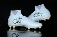 Wholesale golden soft - 2017 Original Cristiano Ronaldo Mercurial Superfly v FG CR7 Football Boots White Golden Soccer Shoes mens Training Sneakers Soccer Cleats