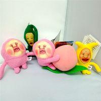 Wholesale Cucumber Cartoon - Funny Japanese Cartoon Farm Plush Toys Banana Cucumber Fart Peach Jun Elf Doll Pendant Soft Kawaii Pillow Keychain Peach Farm Elf Toy