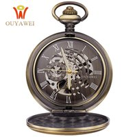 Venda quente Antique Skeleton Mechanical Pocket Watch presente Homens Chain Necklace Business Casual Pocket Fob relógios de luxo relógios