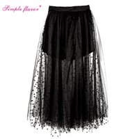 Wholesale Korean Ladies Long Skirts - NEW Black Perspective Ladies Tutu Skirt Summer Korean Maxi Long Skirts Womens High Waist,Faldas,Jupe Big Swing Tulle Skirt C3246