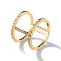 anillo de compromiso de 18kgp al por mayor-18KGP Micro Pave plateado oro CZ barras verticales Anillos de dedo para mujeres 15 mm de ancho Tamaño de EE. UU. # 6-9