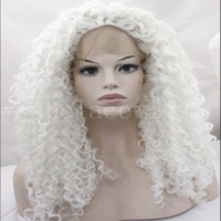 White Blonde Afro Kinky Curly Hairstyle Sintético Lace Front Wigs Resistente ao calor para mulheres brancas