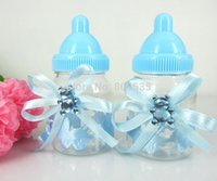 Vente en gros - Livraison gratuite 12Pcs Blue Boy Baby Shower Favors Bouteille Baptême pour Wedding Candy Box Party Marriage Gifts Bouteille