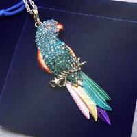 Wholesale Colourful Birds - Wholesale-Vintage Long Jewelry Fashion Sweater Necklace 2016 Bird Exquisite Colourful Enamel Crystal Animal Parrot Pendant Necklaces Women
