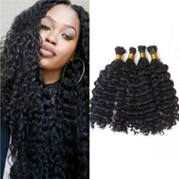 Brazilian Hair Bulk 4 Bundles Deep Wave Unprocessed Cabelo Humano Bulk para trança 100g / pc FDSHINE