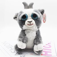 Wholesale Pet Goats - Grey Goat Funny Cute Expression Stuffed Doll Feisty Animal Pets Toys Scary Face Christmas