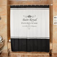 Wholesale Letters Shower Curtain - Wholesale- Black white Polyester Shower Curtain Crown Letter Printed Thicken Waterproof mould proof Bathroom Curtain Cortina De Bano