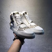 2017 Plus Size Designer Men's Genuine Leather High Top Skull Zipper Cowhide Masculino Casual Shoes Moda Sneakers Rivet Round Toe Tamanho 38-46