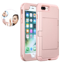 Wholesale Mirror Light Design - Hybrid Armor Case Full Protective Back Cover With Mirror Card Slot Design For iPhone 6 6s 7 plus Samsung S8 Plus OPPBAG