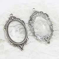 Wholesale Oval Cabochon Settings - Sweet Bell 5 set Antique Silver Filigree Oval 38*66mm (Fit 30*40mm Dia) Cabochon Pendant Settings+Clear Glass Cabochons D0622