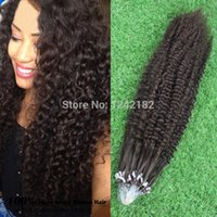 Wholesale Extension Human Hair Curly Micro - Wholesale Micro Loop Ring Hair Human Extensions 1g s 100G Grade 6a Virgin Brazilian Kinky Curly Hair micro loop Natural Hair
