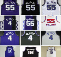 Wholesale Color White Jersey Basketball - Throwback #4 Chris Webber Jersey 16 Peja Stojakovic 21 Vlade Divac 55 Jason Williams Retro Basketball Jerseys Purple Black White Color