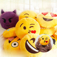 детские игрушки для мальчика оптовых-Soft Emoji Pillow Smiley Emoticon Round Cushion Pillow Stuffed Plush Toy Doll Christmas what's app emoji Cushion 32cm Hot 20 Styles