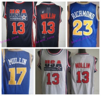 Wholesale Men S Fashion Usa - Newest 17 Chris Mullin Throwback Jerseys USA Dream Team Retro 23 Mitch Jason Richmond Shirts Retro Uniforms Rev 30 New Material Fashion Men