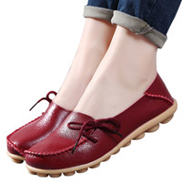 Wholesale Women Green Driving Shoe - Large size genuine leather Women shoes lace-up fashion mother driving casual shoes comfortable breathable women flats shoes