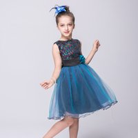 Wholesale Girls Rose Floral Dress - 2017Pretty children 3D rose flower girls sleeveless sequin dress summer princess bow floral chiffon dress with belt in stock
