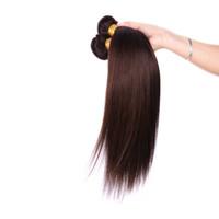 22 koyu kahverengi saç uzatma toptan satış-Brezilyalı Düz İnsan Saç Dokuma İşlenmemiş Remy Saç Uzantıları Koyu Kahverengi 2 # renk 100 g / adet Boyalı Olabilir Hiçbir Dökülme arapsaçı Ücretsiz